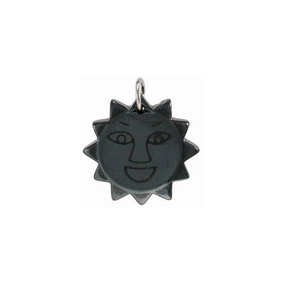 Gemstone pendant, sun charm, hematite with nickel plate loop. Sold per pack of 10. (SKU# SPP19/HEM)