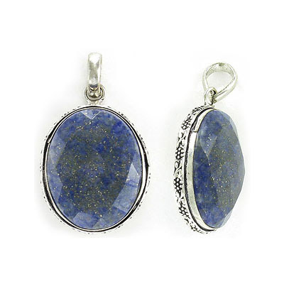Gemstone pendant, 30x22m, oval, lapis lazuli with antique silver frame