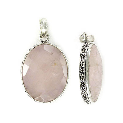 Gemstone pendant, 30x22m, oval, rose quartz with antique silver frame