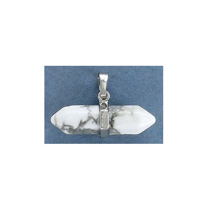 Gemstone pendant, 32mm, white howlite, double points horizontal pendant, rhodium imitation bail
