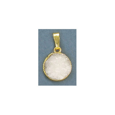 Gemstone pendant, 18mm, crystal druzy, gold plate frame with loop and bail