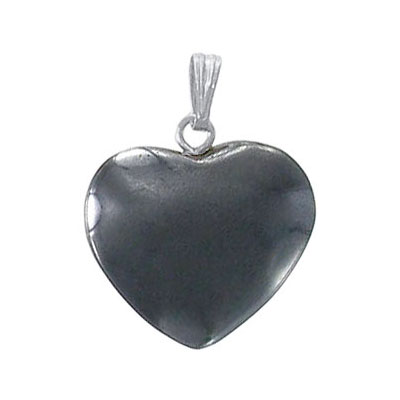Gemstone pendant, heart shaped, 18mm, hematite with silver bail