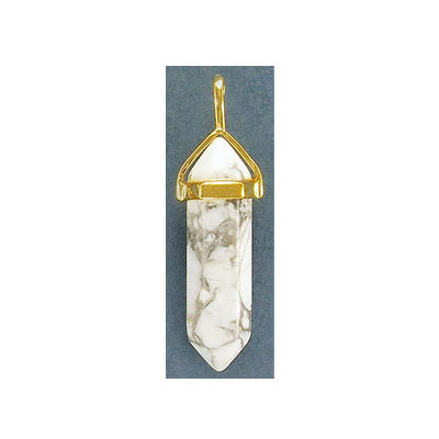 Gemstone pendant, 40mm, point, white howlite with gold bail