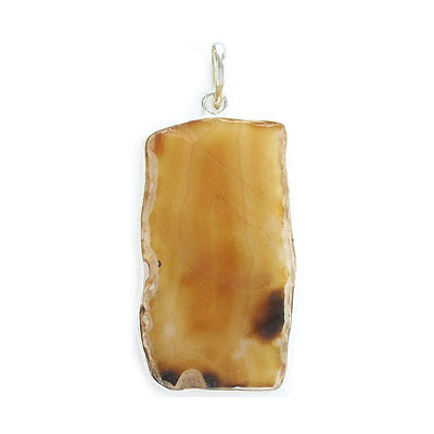 Gemstone pendant, freeform slab, yellow agate