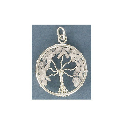Gemstone pendant, 32mm, round, Tree of Life pendant, crystal, silver plate