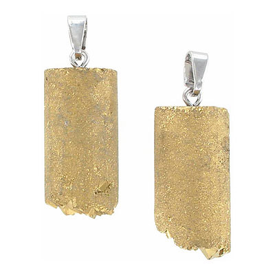 Gemstone pendant, 25-35mm, half-tube druzy, gold