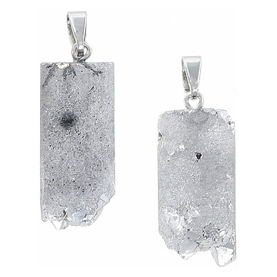 Gemstone pendant, 25-35mm, half-tube druzy, silver