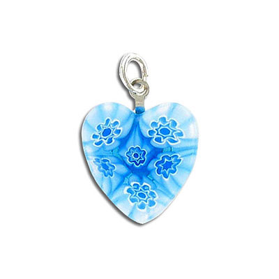 Glass pendant, heart-shaped, blue, with silver bail