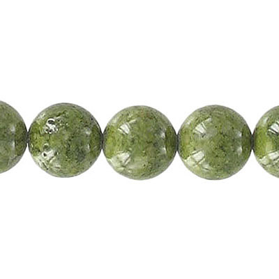 Fossil beads, 10mm, olive green, 36 inch strand