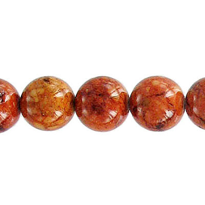 Fossil bead, 36 inch strand, red brown, 10mm