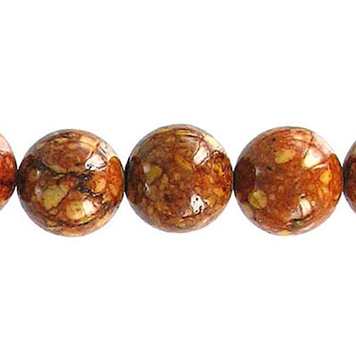 Fossil bead, 36 inch strand, red brown, 12mm