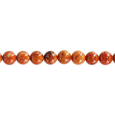 Fossil beads, 36 inch strand, 4mm, red brown