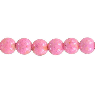 Fossil beads, 6mm, pink, 36 inch strand