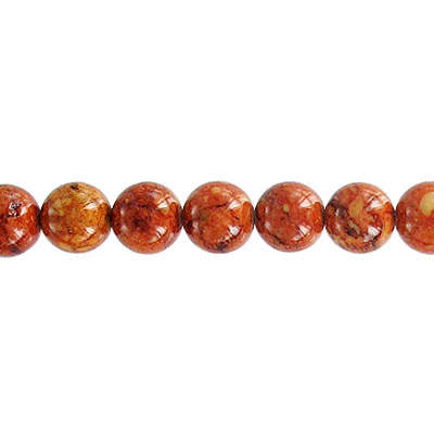 Fossil bead, 36 strand, red brown, 6mm