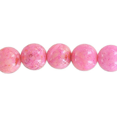 Fossil beads, 8mm, pink, 36 inch strand