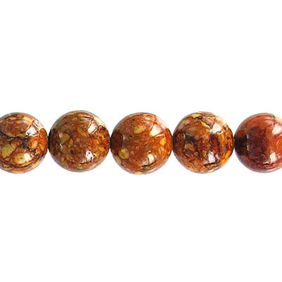 Fossil bead, 36 strand, red brown, 8mm