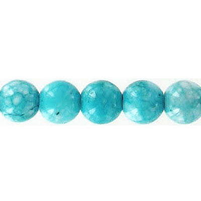 Fossil bead, 32 inch strand, turquoise, 8mm