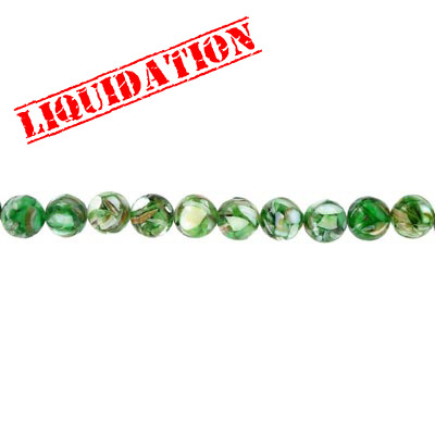 Shell beads, 16 inch strand, river shell, fusion inlay green