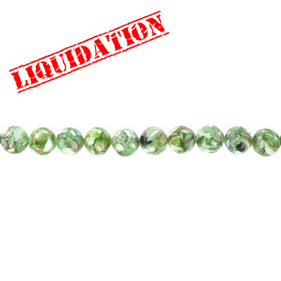 Shell beads, 16 inch strand, river shell, fusion inlay light green
