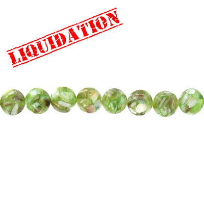 Shell beads, 12mm, 16 inch strand,  river shell fusion inlay light green