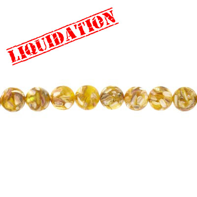 Shell beads, 14mm, 16 inch strand, round, river shell fusion inlay, yellow