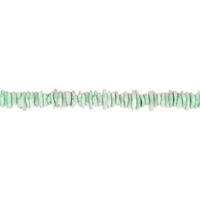 Shell beads, 16 inch strand, square, white clam lime