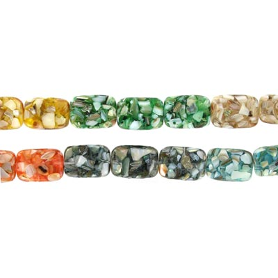 Shell beads, 20x15mm, 16 inch strand, rectangle, river shell fusion inlay multi color