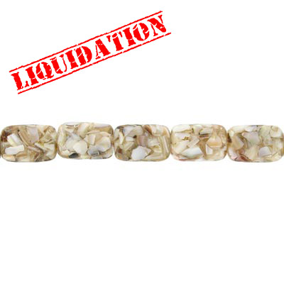 Rectangular bead river shell  fusion inlay natural, 16 inch strand