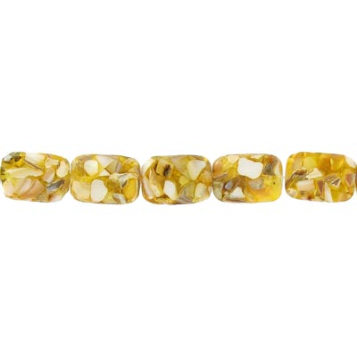 Shell beads, 20x15mm, 16 inch strand, rectangle, river shell fusion inlay yellow