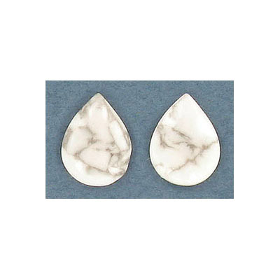Cabochon semi-precious, 10x14mm, pear shape, white howlite
