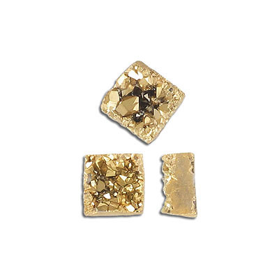 Cabochon semi-precious, 12mm, square, druzy quartz, gold