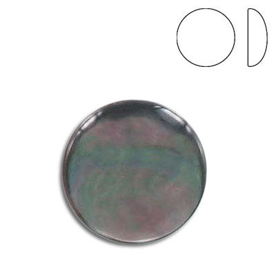 Cabochon semi-precious, low dome, 18mm, round, black lip shell