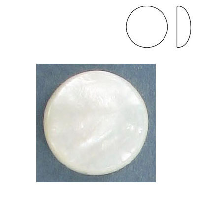 Cabochon semi-precious, low dome, 18mm, round, mother of pearl