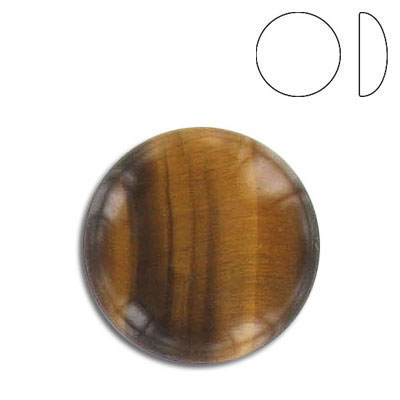 Cabochon semi-precious, 20mm, round, tiger's eye