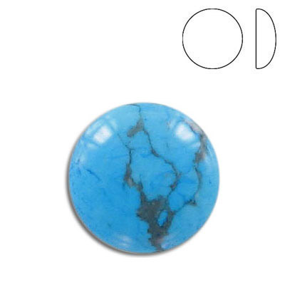 Cabochon semi-precious, 20mm, round, turquoise, stabilized