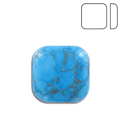 Cabochon semi-precious, 20x20mm, pillow, turquoise, stabilized