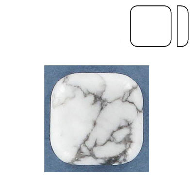 Cabochon semi-precious, 20x20mm, pillow, white howlite