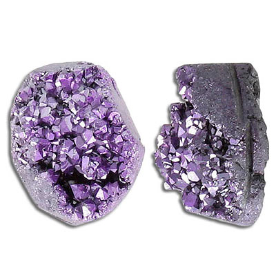 Cabochon semi-precious, 20x25mm, free shape, metallic purple druzy quartz
