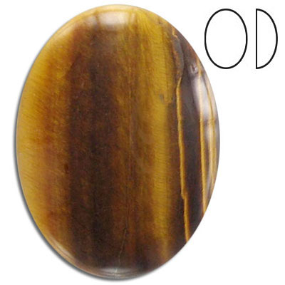 Cabochon semi-precious, gold tiger's eye, oval, 40x30mm