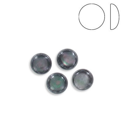 Cabochon, 6mm, low dome, round, black lip shell