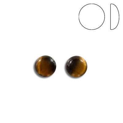 Cabochon semi-precious, gold tiger's eye, round, 6mm