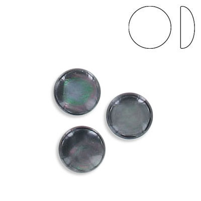 Cabochon, 8mm, low dome, round, black lip shell