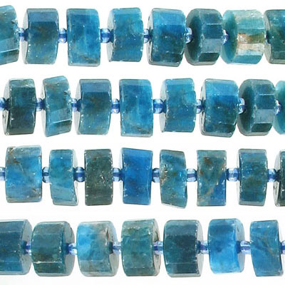 Semi-precious faceted beads, 10-12mm, parallel faceted rondelle, apatite, approx. hole size 1.10mm, 16 inch strand