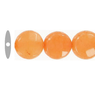Semi-precious faceted beads, 10mm, disk, orange jade, 16 inch strand