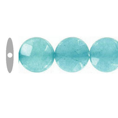 Semi-precious faceted beads, disk, 10mm, teal new jade, 16 inch strand