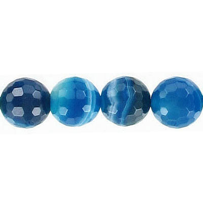 Semi-precious faceted beads, 10mm, blue agate with white lines, 16 inch strand