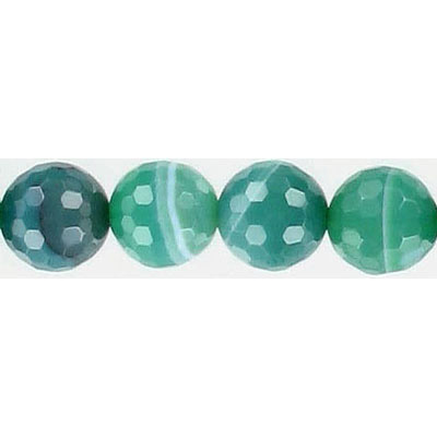 Semi-precious faceted beads, 10mm, green agate with white, 16 inch strand