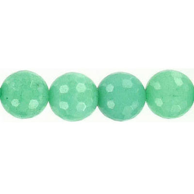 Semi-precious faceted beads, 10mm, green jade, 16 inch strand