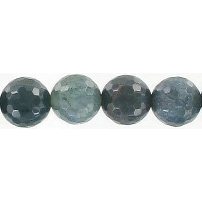 Semi-precious faceted beads, 10mm, moss agate, 16 inch strand