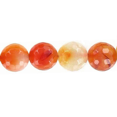 Semi-precious faceted beads, 10mm, cornelian, natural, 16 inch strand